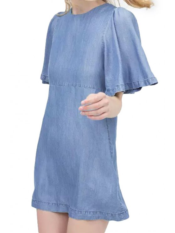 fashion Bleach Wash Bell Sleeve Denim Dress - BLUE S