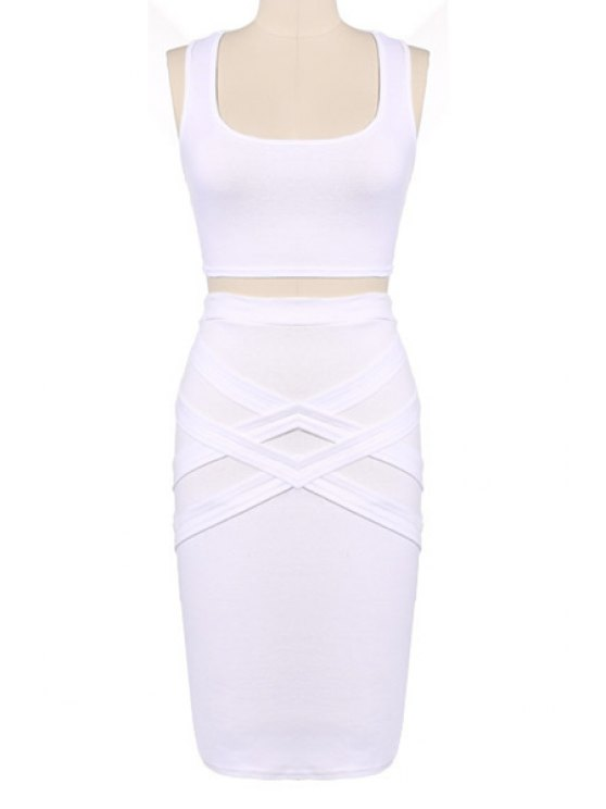 hot Crop Top and Solid Color Pencil Skirt Suit - WHITE S