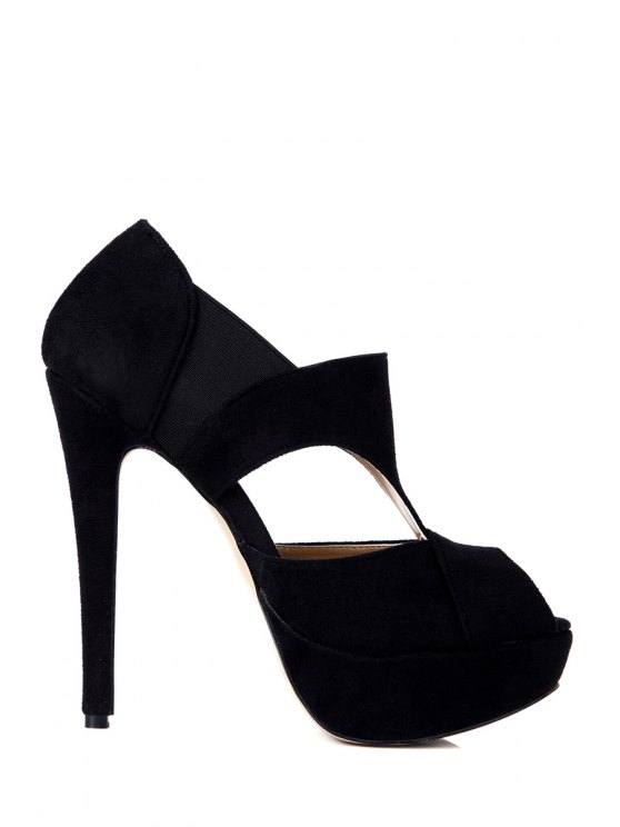 sale Suede Elastic Black Peep Toed Shoes - BLACK 35