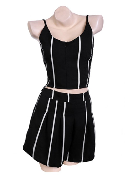 online Spaghetti Straps Tank Top and Striped Shorts Suit - STRIPE S