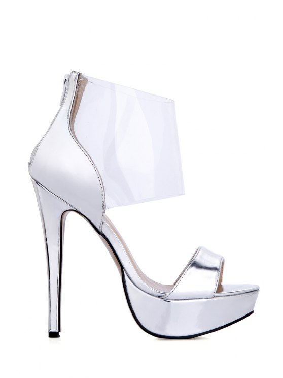 buy Transparent Stiletto Heel Solid Color Sandals - SILVER 35