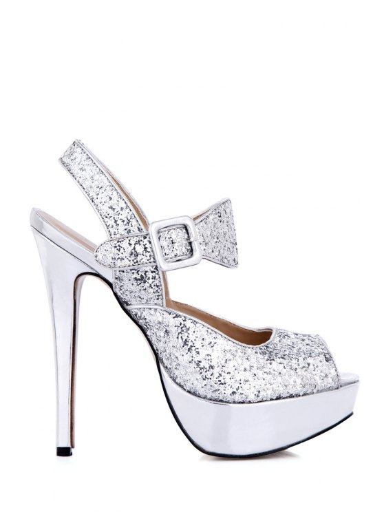 outfit Buckle Sequined Sexy High Heel Sandals - SILVER 35