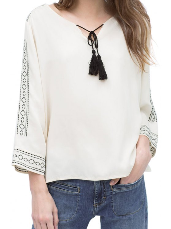 new Argyle Pattern Embroidery Long Sleeve Shirt - WHITE S