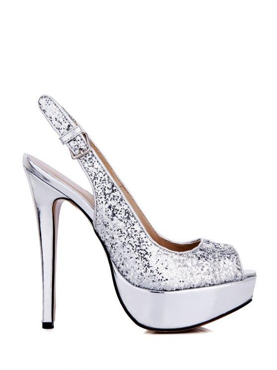 sale Sequined Peep Toe Stiletto Heel Sandals - SILVER 35