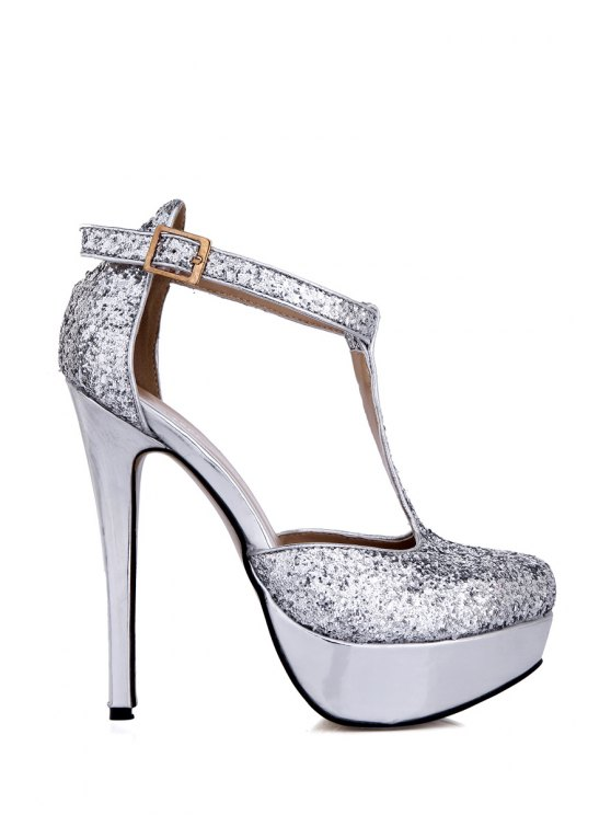 affordable T-Strap Sequined Sexy High Heel Pumps - SILVER 37