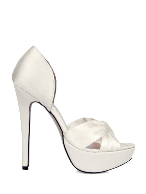 affordable Sexy High Heel Satin Sandals - WHITE 35