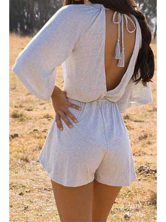 trendy Solid Color Backless 3/4 Sleeve Romper - GRAY S