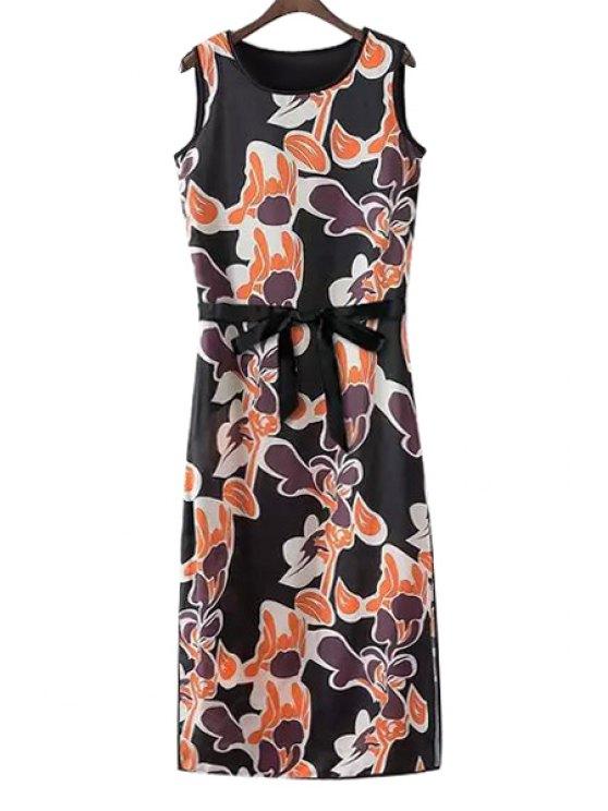 hot Floral Print High Slit Dress - BLACK S