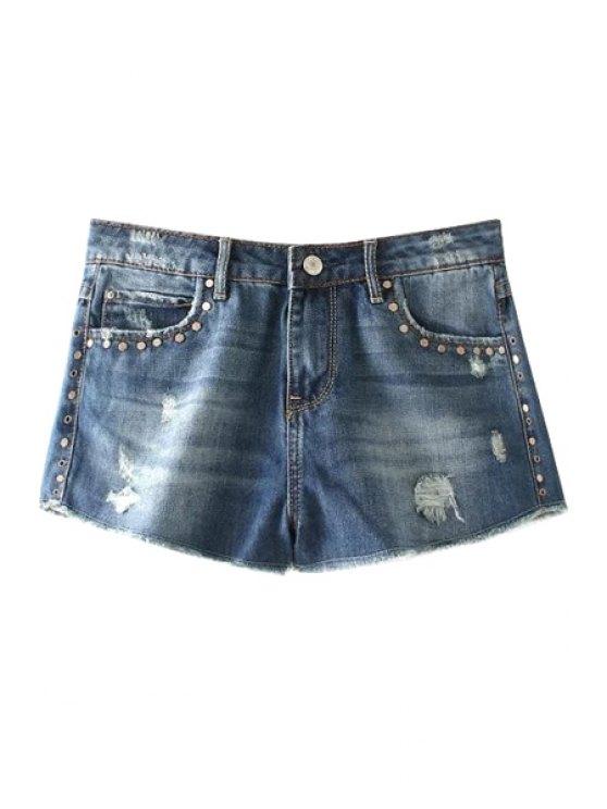 fashion Broken Hole Straight Leg Denim Shorts - BLUE 34