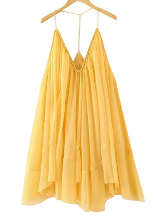 online Spaghetti Strap Solid Color Loose-Fitting Dress - YELLOW ONE SIZE(FIT SIZE XS TO M)