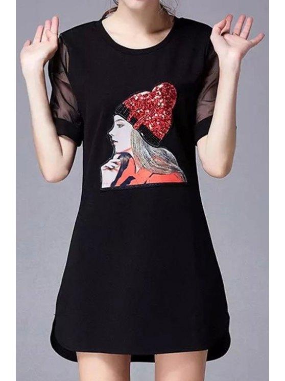 shops Sequins Girl Pattern Short Sleeve Dress - BLACK S
