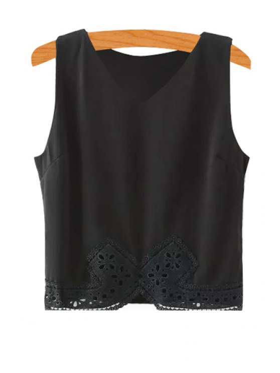 buy Lace Splicing Solid Color Sleeveless Tank Top - BLACK S