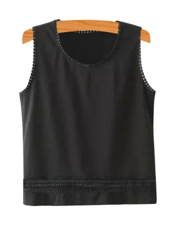 ladies Scoop Neck Lace Splicing Solid Color Tank Top - BLACK S