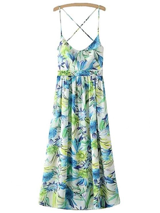 women's Spaghetti Strap Floral Backless Maxi Dress - GREEN S