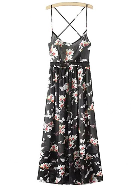 hot Spaghetti Strap Floral Open Back Maxi Dress - BLACK S