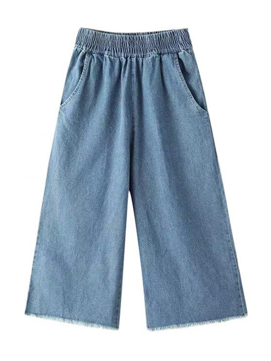 fancy Blue Wide Leg Capri Pants - BLUE M