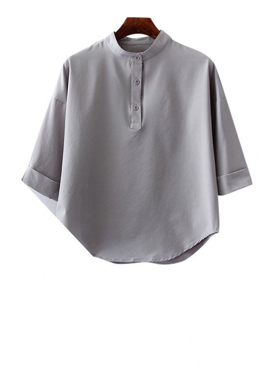 shop Solid Color 3/4 Sleeve Stand Neck Shirt - GRAY ONE SIZE(FIT SIZE XS TO M)