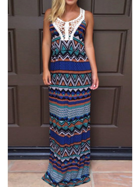 trendy Lace Splicing Openwork Color Block Print Maxi Dress - BLUE S