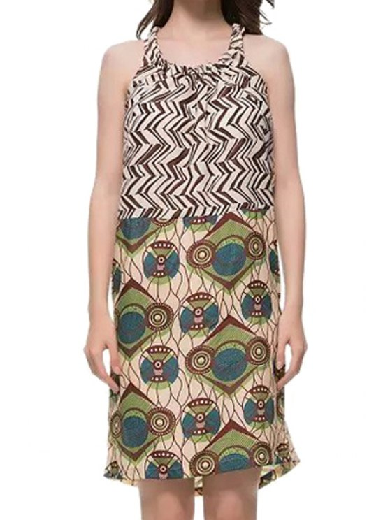 buy Sleeveless Geometric Print Dress - COLORMIX S