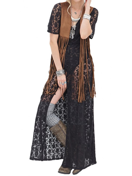 lady Floral Pattern Lace Fringe Splicing Maxi Blouse - BLACK S