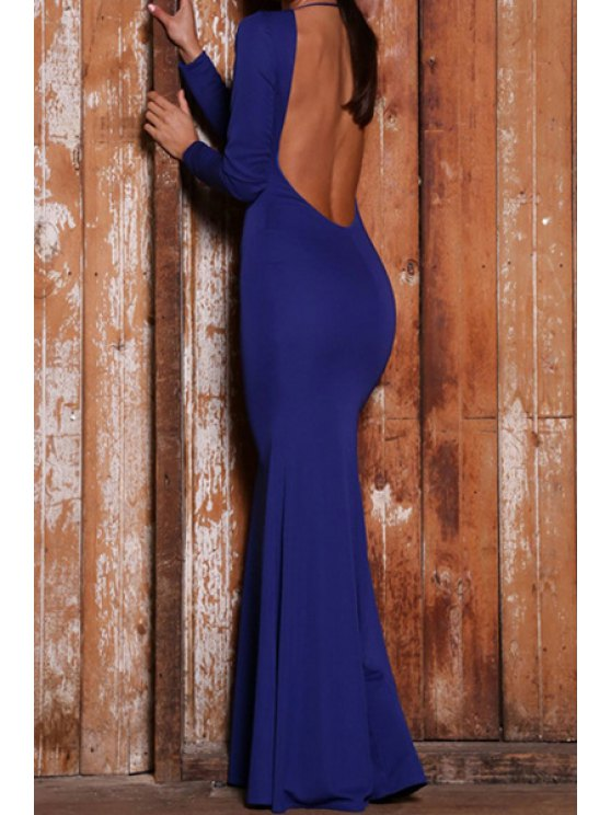 buy Solid Color Long Sleeve Open Back Maxi Dress - BLUE S