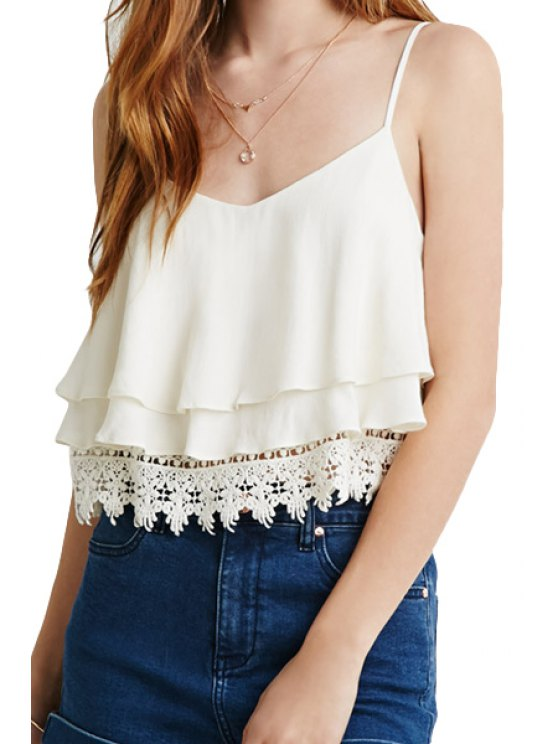 buy Solid Color Multi-Layered Lace Splicing Tank Top - WHITE S