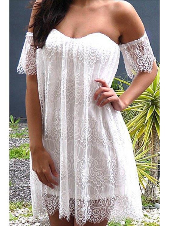 hot White Lace Strapless Dress - WHITE S