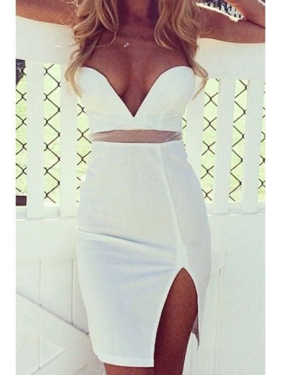 sale Solid Color Voile Spliced Strapless Dress - WHITE S