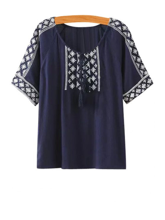 women Embroidery Tassel Half Sleeve Shirt - PURPLISH BLUE S