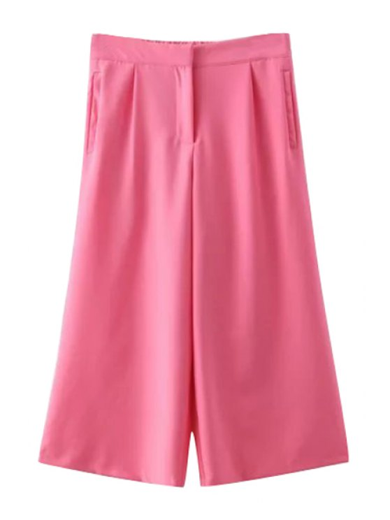 unique Solid Color Wide Leg Ninth Pants - PINK M