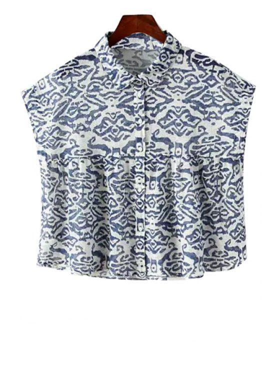 best Print Turn-Down Collar Sleeveless Shirt - BLUE AND WHITE S