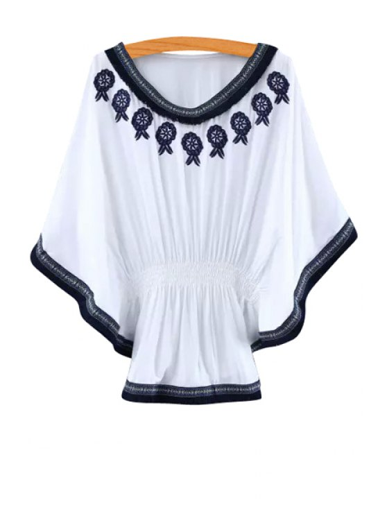 chic Floral Pattern Embroidery Fringe Half Sleeve Shirt - WHITE ONE SIZE(FIT SIZE XS TO M)