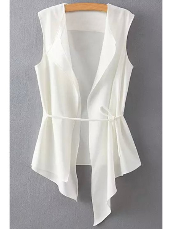 lady Solid Color Asymmetrical Tie-Up Waistcoat - WHITE S