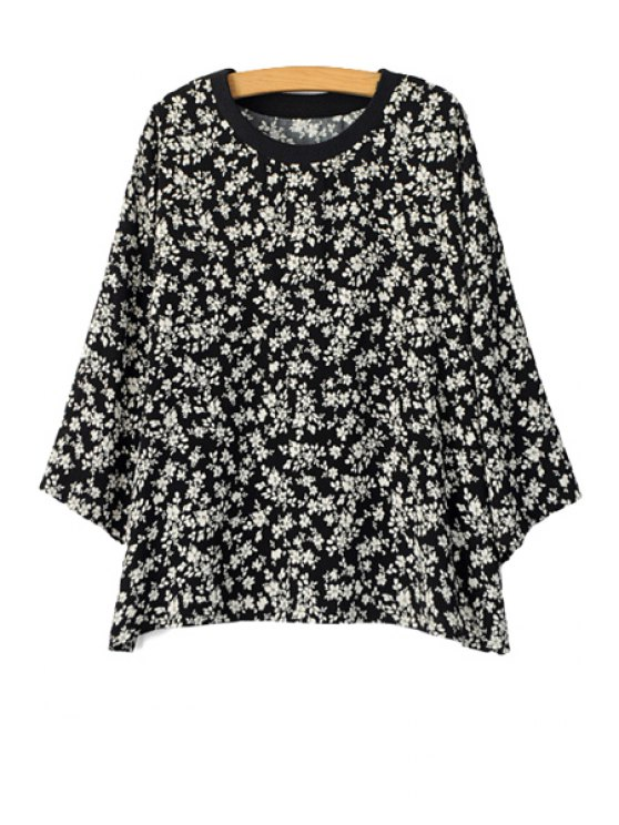 women's Tiny Floral Print Long Sleeve T-Shirt - WHITE AND BLACK ONE SIZE(FIT SIZE XS TO M)