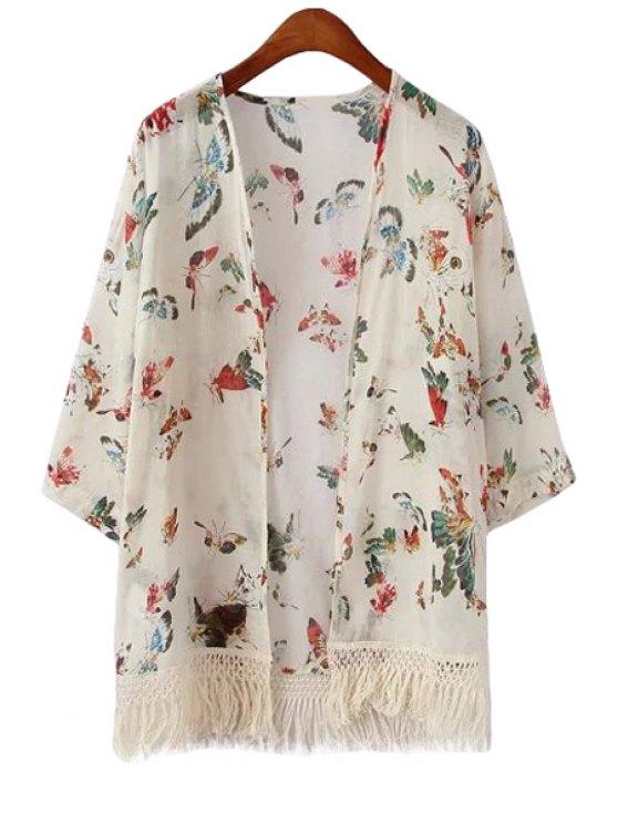 sale Butterfly Print Fringe Long Sleeve Kimono - WHITE S