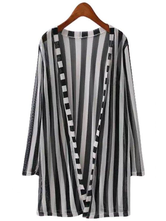 unique Stripe Color Block Long Sleeve Blouse - WHITE ONE SIZE(FIT SIZE XS TO M)
