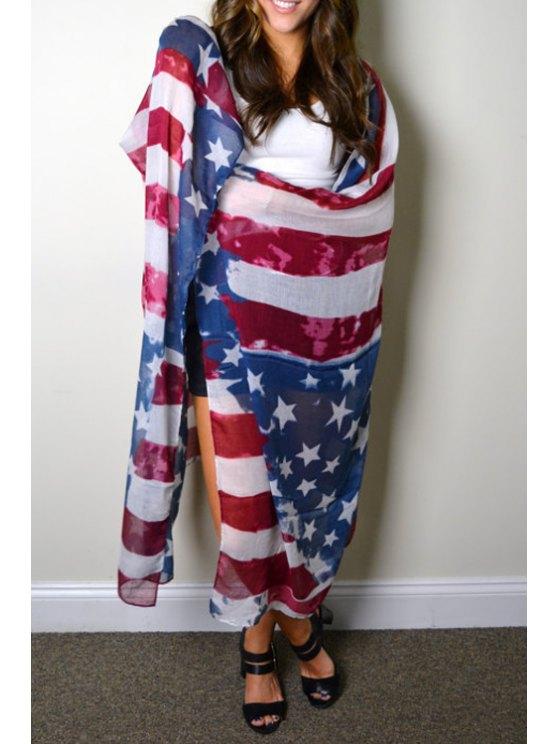 latest American Flag Print Overlong Pashmina - WHITE