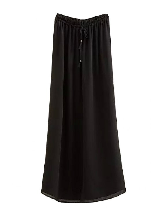 women Solid Color Elastic Waist Drawstring Skirt - BLACK S