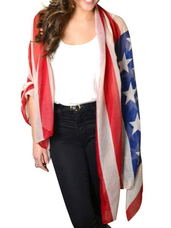 affordable American Flag Print Voile Pashmina - BLUE