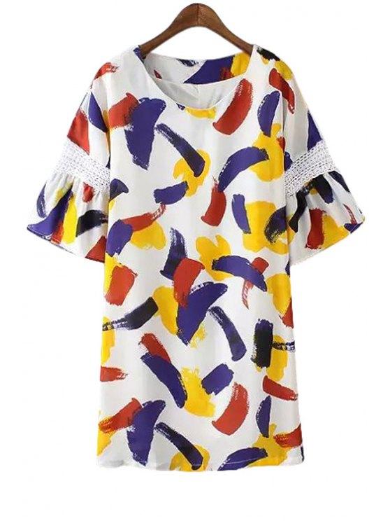 shops Half Sleeve Colorful Print Dress - WHITE S
