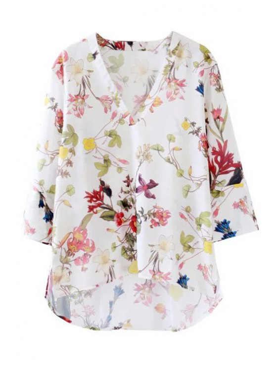 shop Floral Print High Low 3/4 Sleeve Shirt - WHITE S