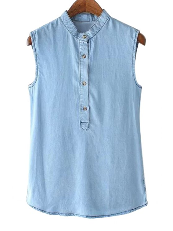 shop Blue Denim Sleeveless Shirt - BLUE S