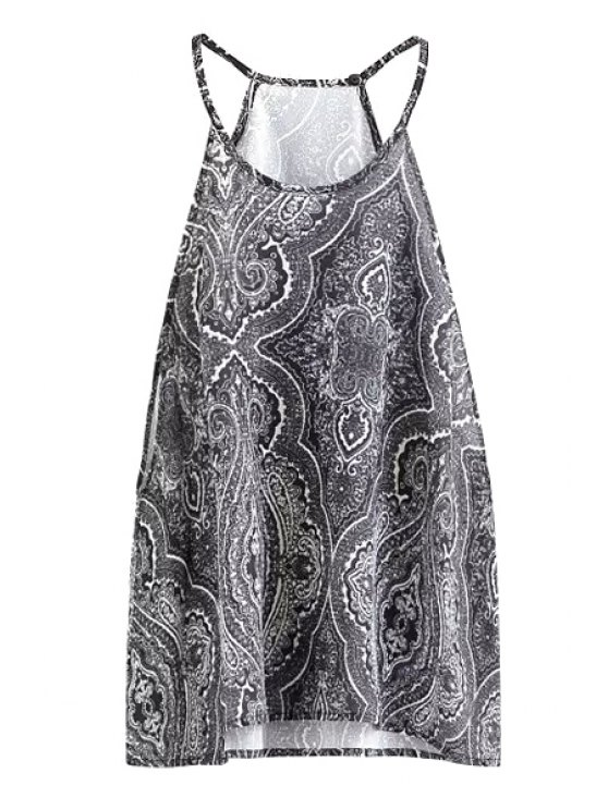 trendy Spaghetti Strap Print Sleeveless Tank Top - WHITE AND BLACK S