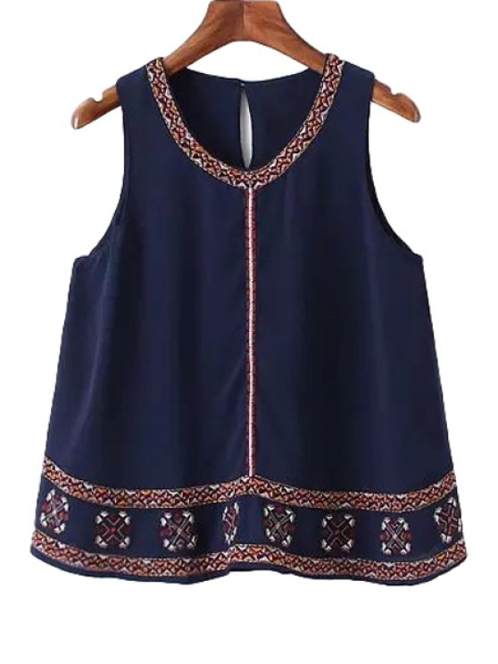 online Colorful Embroidery Sleeveless Tank Top - PURPLISH BLUE S