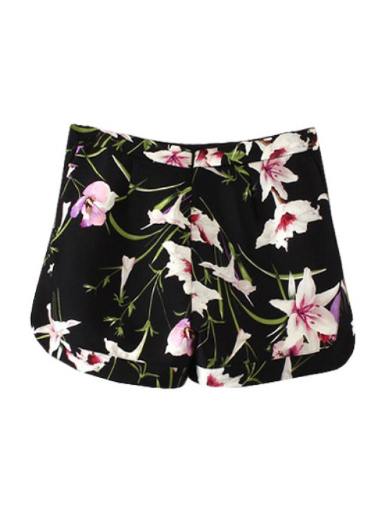online Floral Print Straight Leg Shorts - BLACK S
