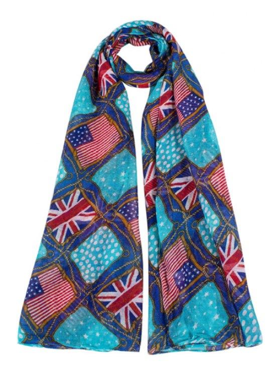 fashion American and Union Flag Print Scarf - BLUE