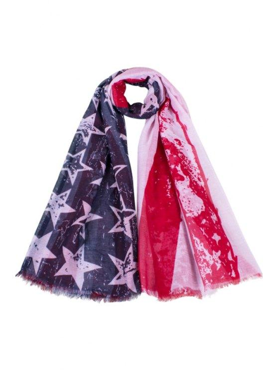 lady American Flag Print Fringed Scarf - DEEP BLUE