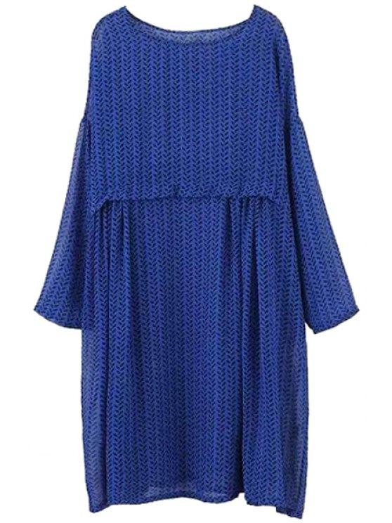buy Print Scoop Neck Long Sleeve Dress - PURPLISH BLUE S