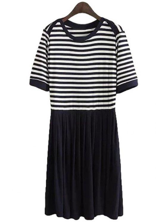trendy Short Sleeve Stripe Spliced Dress - WHITE AND BLACK S