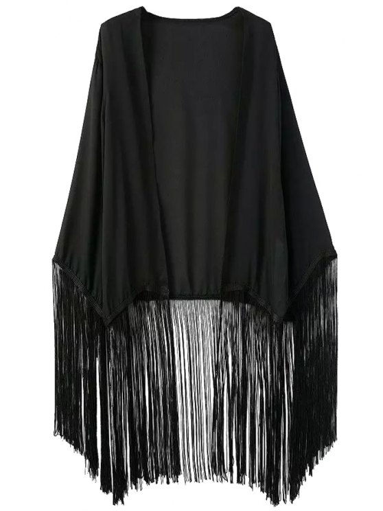 affordable Black Chiffon Long Sleeve Kimono Blouse - BLACK S